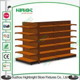Полки индикации гондолы супермаркета с деревянной полкой