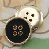 4-Hole Plastic Black Enamel Button con Gold Base