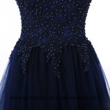 優雅なプロムのパーティー向きのドレスの夕方のAラインはビードのプロムの服にアップリケをつける