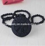 Buena madera negro colgante, collar de abalorios de Madera Natural la ronda de cordón (PN-058)