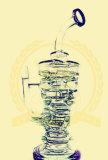도매 코로나 두 배 인라인 Recycler 입체 음향 매트릭스 여과자 유리제 연기가 나는 수관