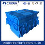 Recipiente de armazenamento de plástico Nestable com tampa anexada