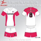販売のためのデジタル印刷の衣類の学校のチーム女の子のサッカージャージーを現れなさい