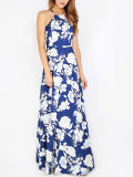 Os vestidos Maxi da impressão floral Halterneck vendem por atacado a fábrica da roupa