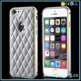 Argumento de couro luxuoso para o iPhone 6/6s com amortecedor do metal