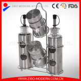 Bottiglia di vetro per il pepe del sale dell'all'aceto dell'olio con la cremagliera di spezia dell'acciaio inossidabile