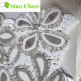 Tuiles de mosaïque Waterjet de marbre mélangées blanches de Brown pour la décoration de mur