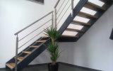 Деревянный поручень штанга установленная стеной вывешивает балюстраду нержавеющей стали для лестницы