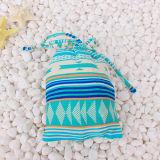 Terno de natação encantador com saco para menina azul e amarelo DOT