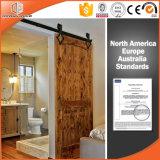 Porte intérieure de villa de grange américaine en bois solide, porte de levage durable de roue, porte coulissante avec la première piste, porte coulissante de grange d'America/USA