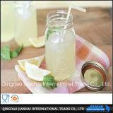 Bottiglia di vetro rotonda del vaso di muratore con il coperchio di plastica