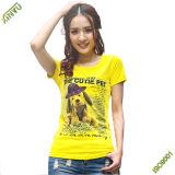 Guangzhou fabricante al por mayor 100% algodón de manga corta Lady's Hotsale Camiseta Cheaoer