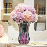 花、ホーム装飾のための高いステンドグラスのつぼ