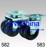 黒いナイロン対の車輪の旋回装置の版の上の足車