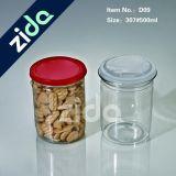 Haustier-freies Plastikglas und Behälter für Nahrung mit geöffneter Kappe