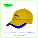 Casquette de baseball de broderie de tête avec du coton lourd jaune de balai