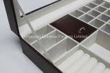 Rectángulo de almacenaje de cuero de la joyería de la PU de la aduana marrón