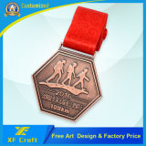 工場価格のリボン(XF-MD13)が付いているカスタム金属のスポーツかマラソンメダル骨董品の真鍮メダル