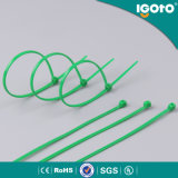 Fechamento plástico ajustável do laço do fechamento de nylon da tração do cabo, cinta plástica plástica