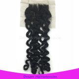 Das freie geblichene Teil knotet italienisches wellenförmiges Spitze-Schliessen-brasilianisches Jungfrau-Haar