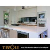 Il disegno di laccatura bianco della cucina del miele semplice e pulito con il portello e la maniglia di spinta progetta liberamente Tivo-0214h