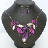 Ювелирные изделия серьги ожерелья чокеровщика заявления диаманта листьев способа установленные