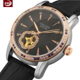 Relógio de pulso redondo do aço inoxidável da forma do seletor das mulheres