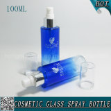 100ml Blue Cosmetic Glass Lotion Pump Bottle with Plastic Cap