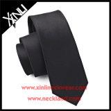 100% Seda Tecidos Jacquard Skinny Mens Gravatas preto sólido