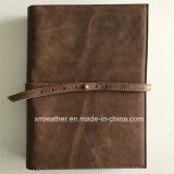 Le cuir réel conçoivent le dépliant en fonction du client de fichier du cahier de boucle A5