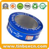 明確な透過Windows、金属の錫ボックスが付いている円形の缶