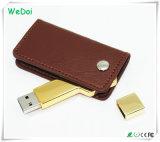 Tecla de couro de alta qualidade a unidade flash USB com baixo custo (WY-L42)