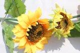 Flores artificiales amarillo girasol Fake flor para la decoración del hogar