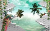 Вал голубого неба и кокоса конструирует UV напечатанный на панели стены для украшать дом