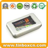 冷却装置磁石のPVC Windowsが付いているカードによって蝶番を付けられる金属のギフトの錫ボックス