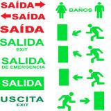 Het LEIDENE Teken van de Uitgang, het Teken van de Nooduitgang, het Teken van de Uitgang, het Nieuwe Teken van de Nooduitgang van rand-Lit Salida