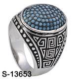 De mensen bellen de Zilveren Blauwe Turkooise Ring van Juwelen 925