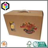 Упаковывать полного цвета напечатанный гофрированный носит коробку с пластичной ручкой