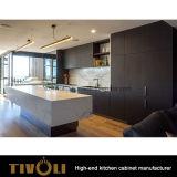 簡単で、きれいな蜂蜜の押しのドアおよびハンドルとの白いラッカー塗りの台所デザインは自由にTivo-0214hを設計する