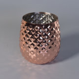 Tarro de lujo de encargo de la vela del oro de Rose del acero inoxidable del metal de la dimensión de una variable de la piña para la decoración