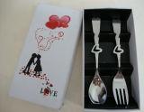 Ложка нержавеющей стали формы сердца/Cutlery вилки установили с пакетом коробки подарка