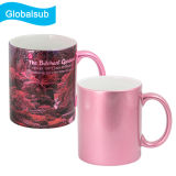 Canecas cerâmicas personalizadas da cor-de-rosa relativa à promoção do Sublimation