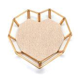 Cassetti di rame di vetro della visualizzazione dei monili del metallo di figura decorativa del cuore