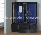 1350mm Rectangle Black Steam Sauna com jacuzzi e chuveiro (AT-G0203)