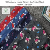 Manier van de Sjaal van het Beeldverhaal van de Viscose van 100% de Nieuwste Hond Afgedrukte Dame Scarf
