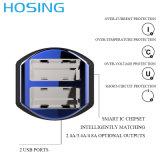 Производство Smart два порта USB дешевые портативный USB автомобильное зарядное устройство со светодиодной подсветкой