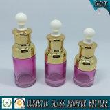 bottiglia cosmetica di vetro viola del contagoccia del siero di 20ml 30ml 50ml