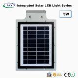 Ce RoHS impermeable 5W todo en una luz solar de la calle al aire libre con el sensor de movimiento y el panel solar