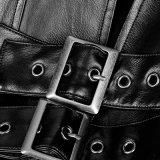 Пальто готской японской кожи людей плаща Solider металлической большой длиннее (Y-747)