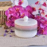 Tarro de cerámica hermoso de la vela con las tapas